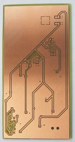 Bottom side of etched PCB