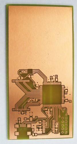 Top side of etched PCB
