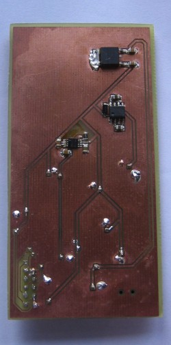 Bottom side with components soldered