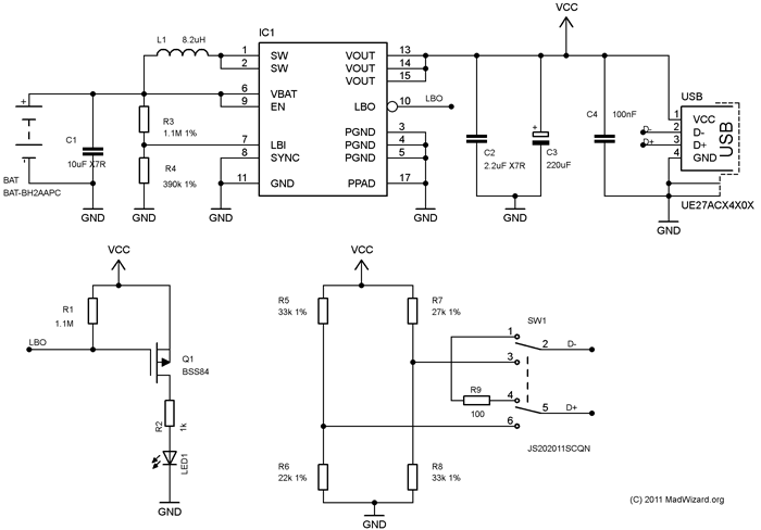 USB phone charger schematic